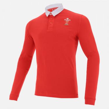 Polo de jersey de algodón rojo de la línea fan Gales Rugby 2020/21