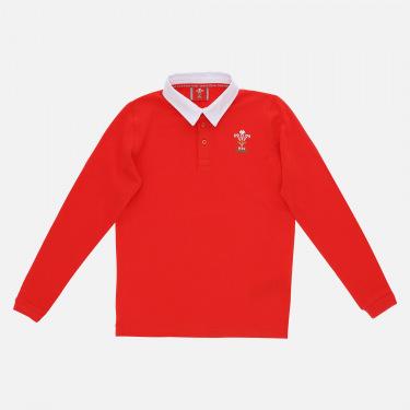 Polo en coton jersey rouge ligne supporter du Pays de Galles Rugby 2020/21 pour enfant