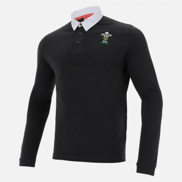 Welsh rugby 2020/21 black cotton jersey polo shirt from the fans collection