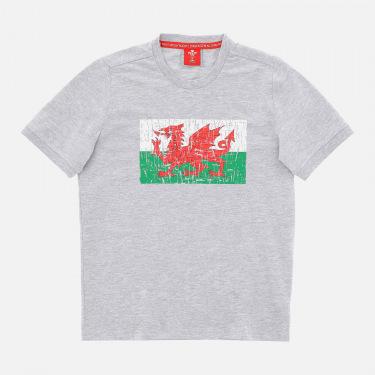 Camiseta gris jaspeado para niño de la línea fan gales rugby 2020/21